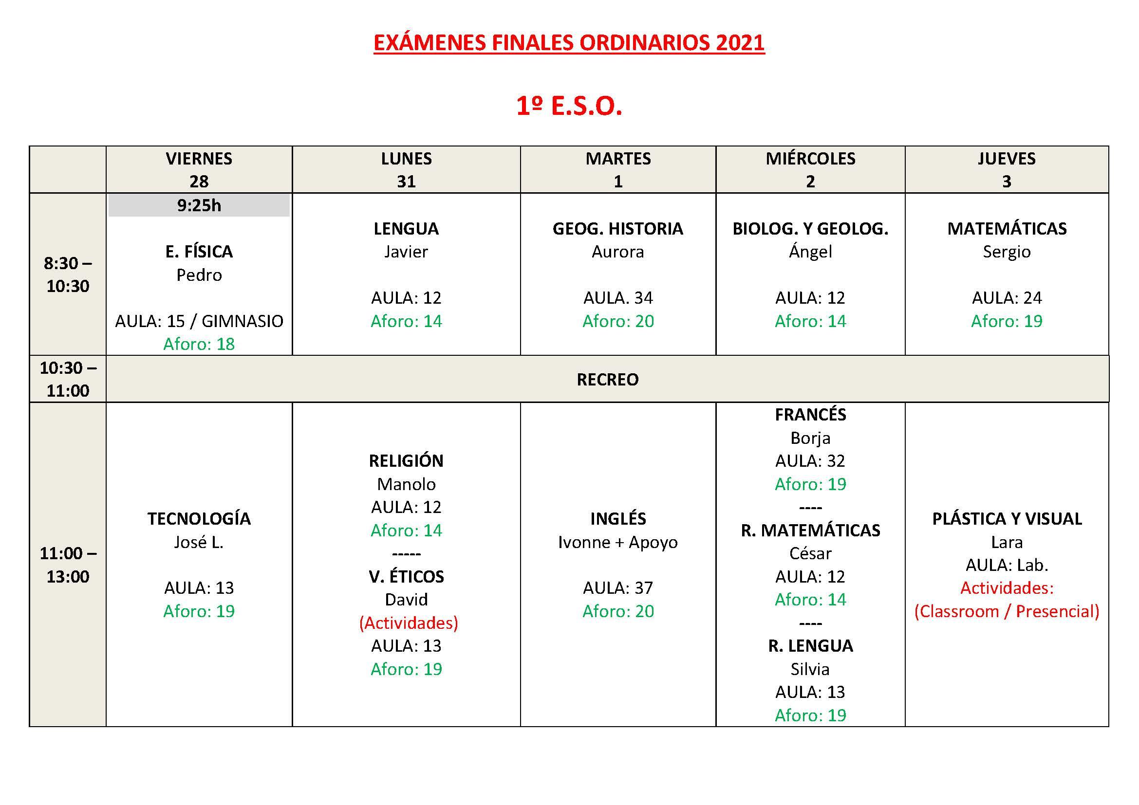 CALENDARIO DE EXAMENES ORDINARIOS ESO Y 1 BTO Pagina 3