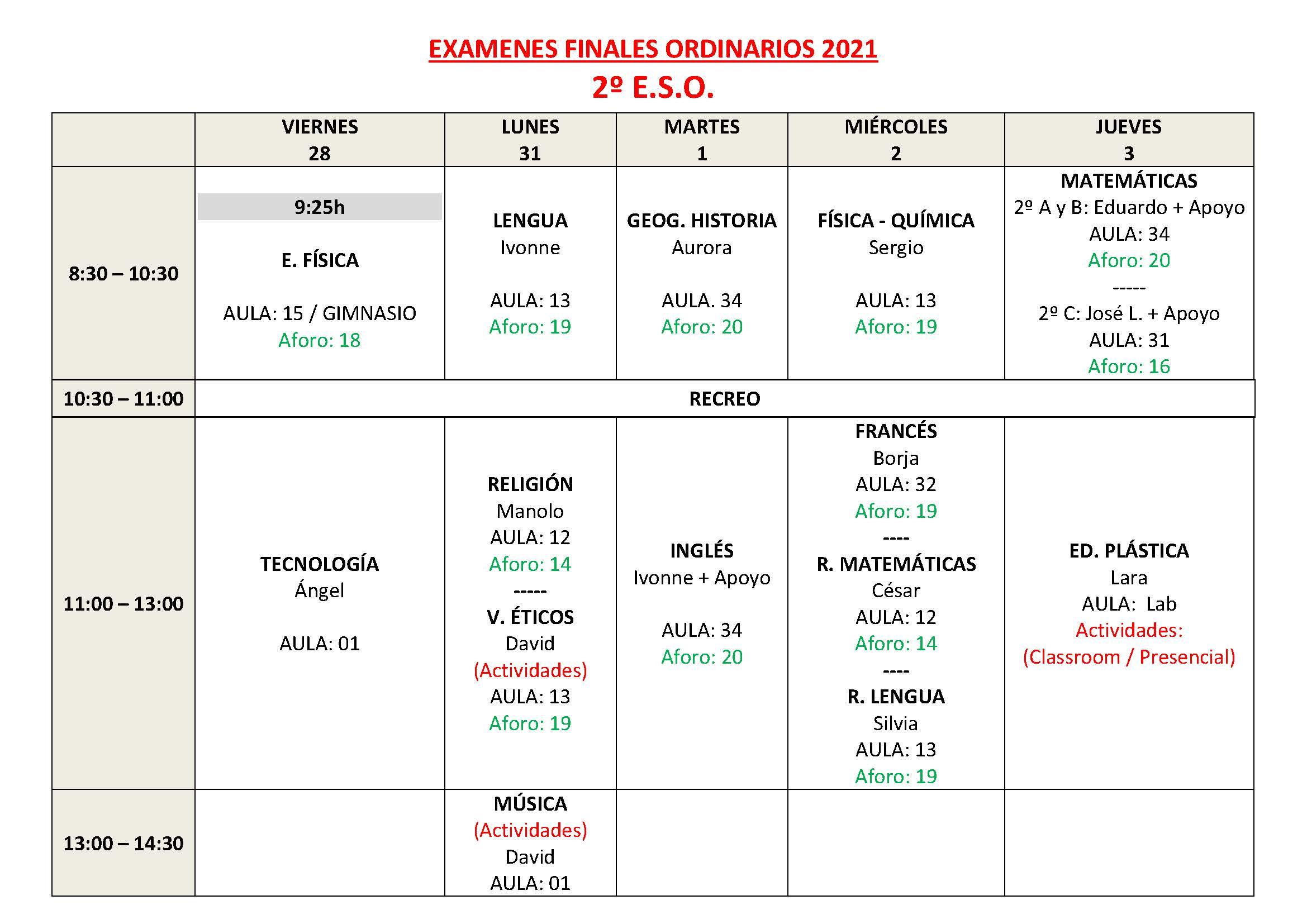 CALENDARIO DE EXAMENES ORDINARIOS ESO Y 1 BTO Pagina 4