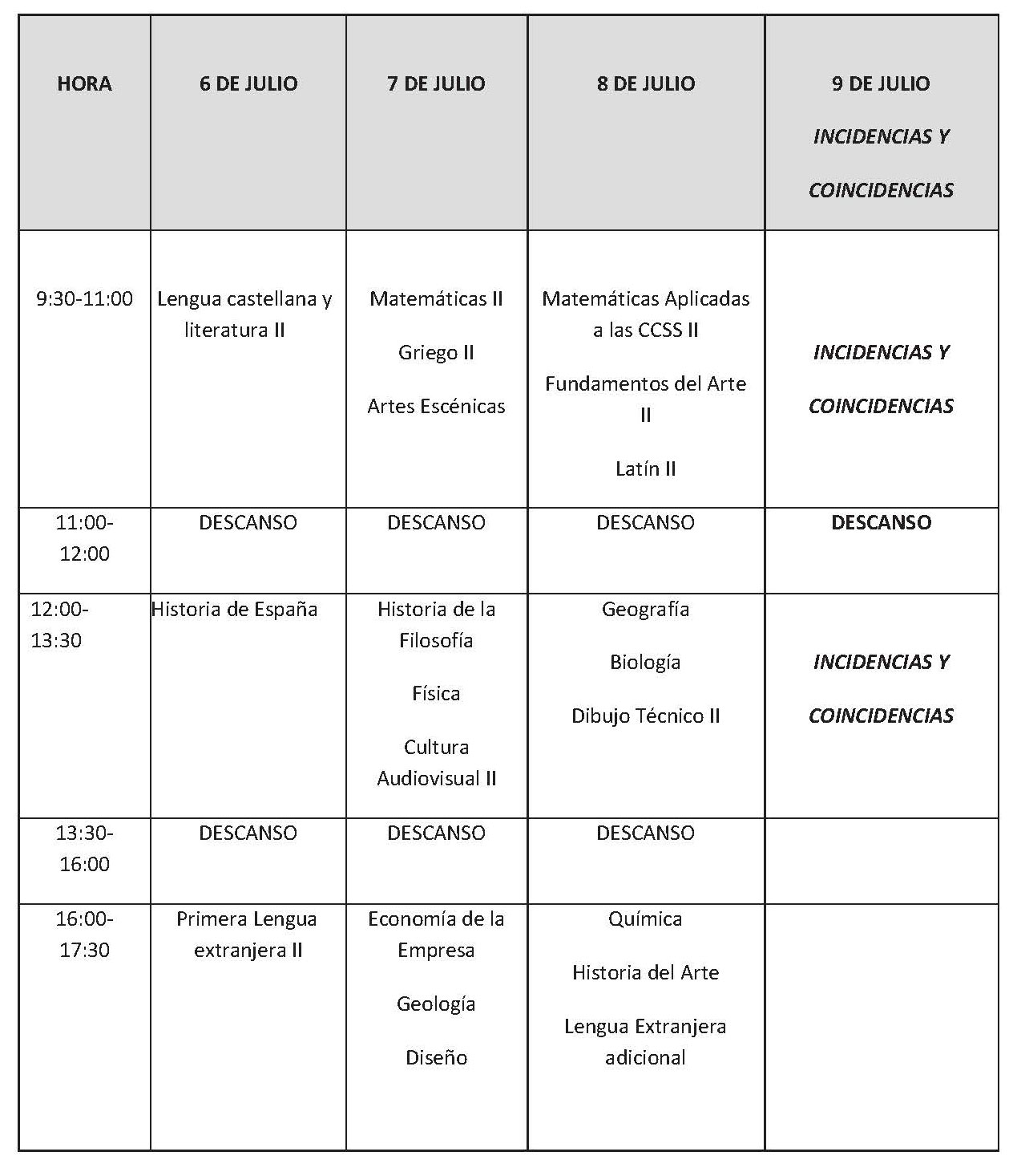 CALENDARIO EXAMENES EXTRAORDINARIA 1